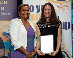 Outstanding Leader Finalist with Minister - Sally Lovering