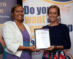 Outstanding Leader Winner with Minister - Meg Hewett