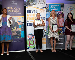 Outstanding Educator Finalists and Winner with Minister
